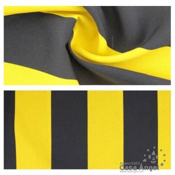 TELA STRETCH LISTAS NEGRO AMARILLO ANCHO 150cm