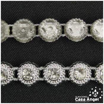 PASAMANERIA PVC CÍRCULOS BRILLANTES STRASS 10mm