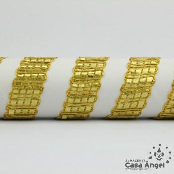 PASAMANERÍA BORDADA LÁMINA HILO METALIZADO 20mm