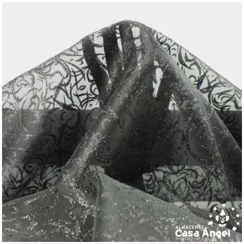ORGANZA NEGRA ESTAMPADA GLITTER SERIE LUCES 150cm