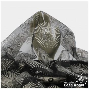 TUL ESTAMPADO CON BRILLANTINA PLATA SERIE SOLES 150cm