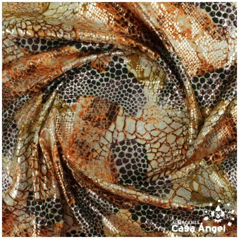 LYCRA ANIMAL PRINT SERPIENTE CON ESCAMAS DE FOIL 150cm
